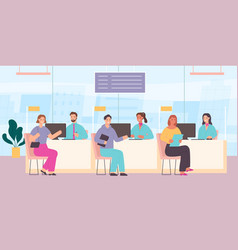 Clients in bank customer service counter vector