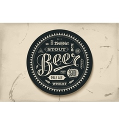 Coaster for beer with hand drawn lettering vector
