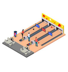Color characters people and bowling alley concept vector