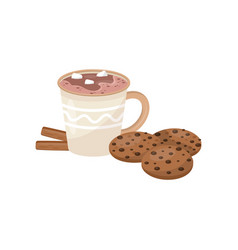 Cup of hot chocolate with marshmallow cookies and vector