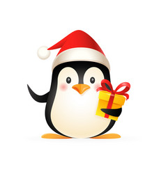 Cute penguin with santa s hat and gift vector