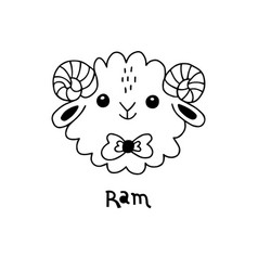 cute simple ram face cartoon style vector image