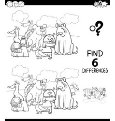 Differences color book with dogs animal characters vector