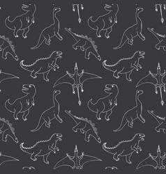 dino seamless pattern cute cartoon hand drawn vector image