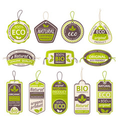 eco bio and natural product labels set vector image