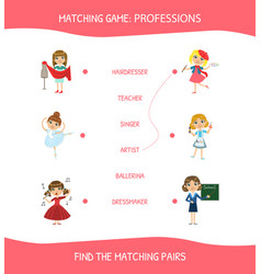 educational matching game for children vector image