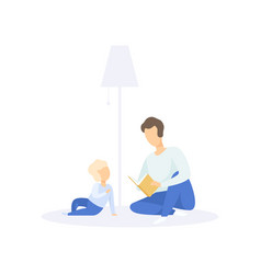 father reading a book to his little child family vector image