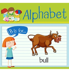 Flashcard letter B is for bull vector