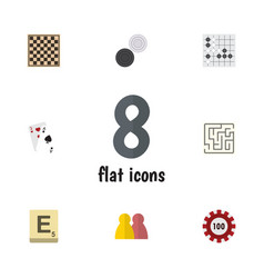 Flat icon entertainment set of labyrinth gomoku vector
