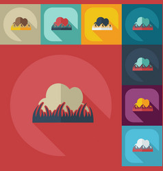 Flat modern design with shadow icons grass vector