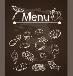 Food menu elements on chalk board set vector