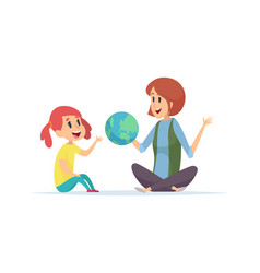 geography lesson girl teacher and globe woman vector image