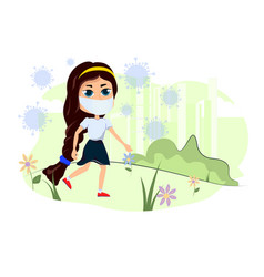 girl walks in nature and an epidemic of vector image
