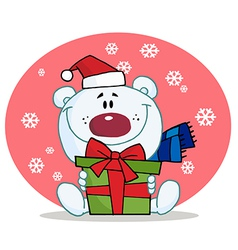 Giving Christmas Polar Bear Holding A Gift vector image