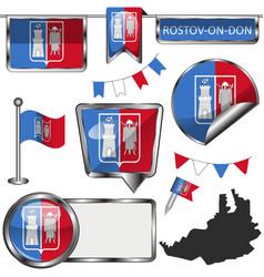 Glossy icons with flag rostov on don vector