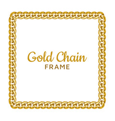 golden chain square border frame rectangle wreath vector image