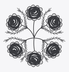 Gray rustic roses icon vector