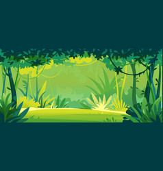green lawn in tropical forest template background vector image