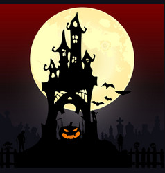 halloween party pumpkin trees bats and full moon vector image