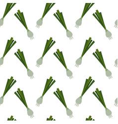 Hand drawn green leek onion seamless pattern vector