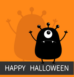 happy halloween monster black silhouette looking vector image