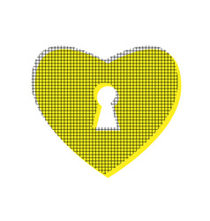 Heart with lock sign yellow icon with vector