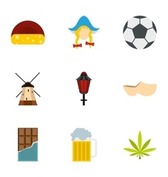 Holiday in Holland icons set flat style vector