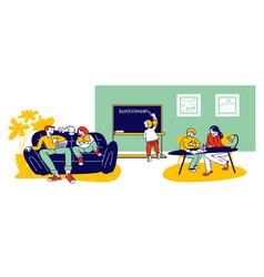 Homeschooling concept children getting education vector