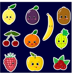 icons of fruit smiley stickers with a white vector image