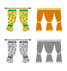 Isolated object curtains and drapes symbol vector