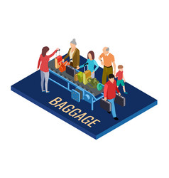 isometric baggage claim at airport vector image