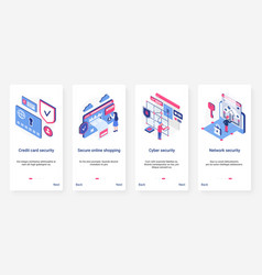 Isometric cyber security network technology ux ui vector