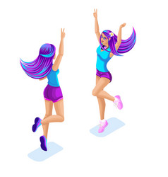 Isometry of a girl jumping having fun enjoying vector