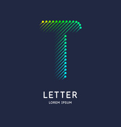 Letter t latin alphabet display vector
