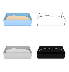 Litter box icon in cartoon style isolated on white vector
