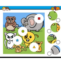 Match pieces game with animals vector