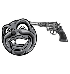 monochromatic emoticon pointing a gun on his head vector image