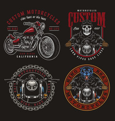 Motorcycle vintage colorful labels vector