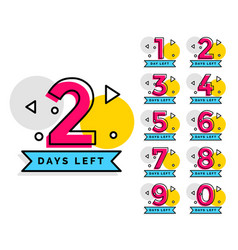 Number of days left badge for sale or promotion vector