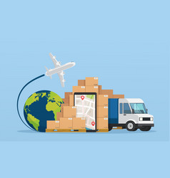 Online service postal logistic service or courier vector