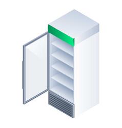 open drink fridge icon isometric style vector image