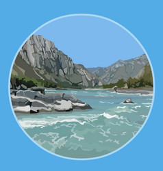 Painted blue river background in the mountains vector