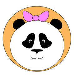 panda with pink bow on white background vector image