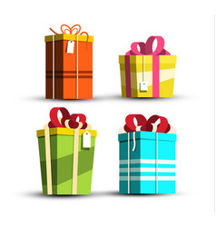 paper gift boxes set present box icons isolated vector image