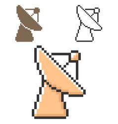 pixel icon radar telescope in three variants vector image