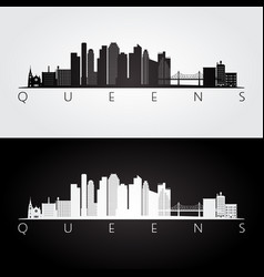 queens new york usa skyline and landmarks vector image