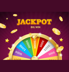 realistic detailed 3d casino fortune wheel jackpot vector image