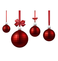 red christmas balls with satin bow vector image