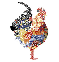 rooster with french patterns vector image