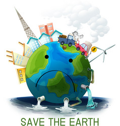 Sad polluted save earth poster vector